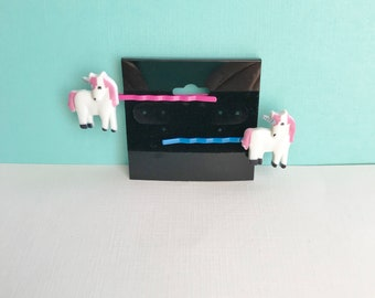 Unicorn Hair Pins, Unicorn Bobby Pins, Unicorn Hair Accessories, Unicorn Hair Pins, Set of 2 Unicorn Hair Pins, Pink Unicorn, Bobby Pins