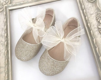 69fbba9afd1 SOFT GOLD Glitter Maryjane Flats with CHIFFON Bow for Flower Girls Shoes