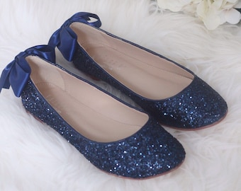 b331ac39ef6 NAVY BLUE ROCK Glitter Flats with Back Satin Bow - Bridal Shoes
