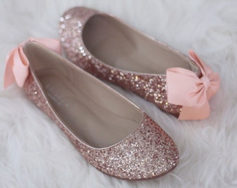 c2155a6eee6b ROSE GOLD ROCK Glitter Flats with Back Satin Bow - Bridal Shoes