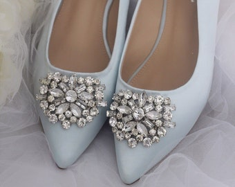 3bd79a602 LIGHT BLUE SATIN Pointy toe flats with oversized rhinestones brooch - Women Wedding  Shoes