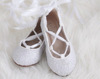 WHITE ROCK GLITTER Infant girl Shoe and Girls ballerina Shoes Lace Up Flats.  Holiday shoes 549a863521b5