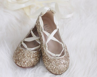 GOLD ROCK GLITTER Infant girl Shoe and Girls ballerina Shoes Lace Up Flats.  Holiday shoes 564780d20f00