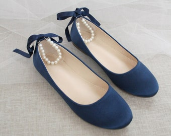 Women & Kids Shoes | Navy Satin Flats with Pearls Ankle Strap - Flower girls shoes, Wedding Shoes, Bridesmaids Shoes, Something Blue