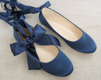 Women Shoes | Navy Satin Flats with Satin Ankle Tie or Ballerina Lace Up - Bridal Shoes, White Wedding Shoes, Jr. Bridesmaids Shoes