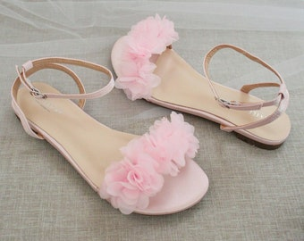 Pink Satin Flat Sandal with CHIFFON FLOWERS, Bridesmaid Shoes, Women Sandals, Kids Heels, Mommy and Me Shoes