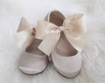 f04c00a9b2e Girls CHAMPAGNE Satin shoes - Maryjane with gold satin bow for flower girl  shoes