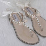 Pearl Wedding Sandals - T-Strap BEIGE Pearl  with Rhinestones flat sandal with satin ankle strap - Women & Girls Flat Sandals