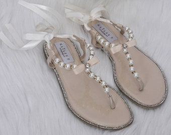 33c13e05c35a80 Pearl Wedding Sandals - T-Strap BEIGE Pearl with Rhinestones flat sandal  with satin ankle strap - Women   Girls Flat Sandals