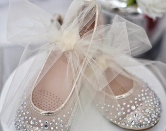 Girls GOLD Shoes - Mesh With Rhinestone ballet flats with TULLE ankle  strap. For flower girls 9e044faba9d5