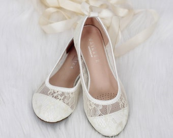 d4d36b135274 Girls IVORY lace ballerina Shoes -Flower Girl Shoes