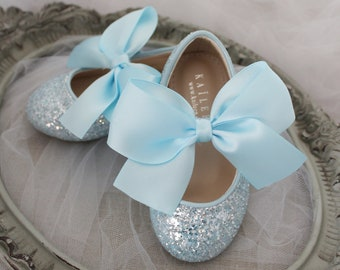 Light Blue Rock glitter mary-jane with satin bow for flower girls - Flower girl shoes, Cinderella Shoes, Disney Frozen Shoes