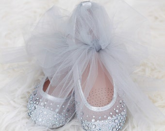 a8b6a1ab2930 Girls SILVER Shoes With Rhinestone ballet flats with TULLE ankle strap. For  weddings