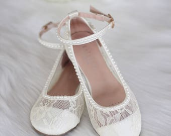 0d79bfd67bd Girls IVORY LACE Shoes with PEARLS and ankle strap - For Flower Girls
