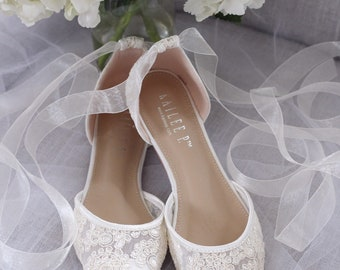 eac6e0fdd87 IVORY CROCHET LACE Pointy toe flats with Ballerina lace up - Women Wedding  Shoes