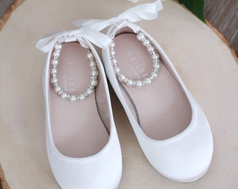 541e78c2d4a09f OFF WHITE Satin Flats with Pearls Ankle Strap - Satin flower girls shoes