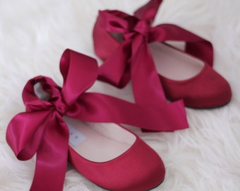 9d0351efbc1e WINE Satin Flats with Satin Ankle Strap - Satin flower girls shoes, Burgundy  Shoes for Girls, Maroon Shoes, Junior Bridesmaids Shoes