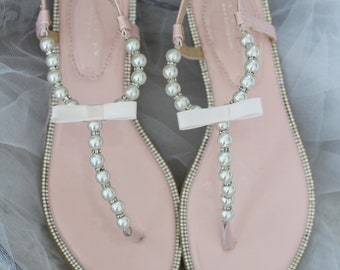 3a926652b953d3 Women and Kids Wedding Pearl Sandals - T-Strap BLUSH PINK Pearl with  Rhinestones flat sandal - For brides