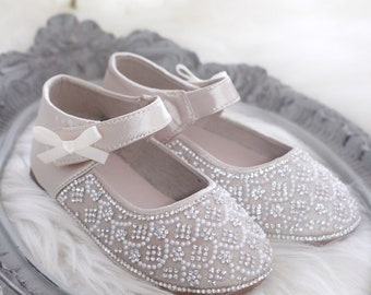 00c0d1d13fa Girls CHAMPAGNE Satin Shoes - maryjane flats with pearls and rhinestones  embellishments- Flower girl shoes