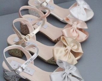 bc29d0ef780 Rock Glitter Block Heel Sandals with Satin Bow