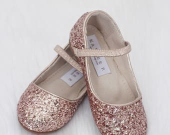 e64fcaab1361 ROSE GOLD Rock Glitter Maryjane Flats for Flower Girls Shoes