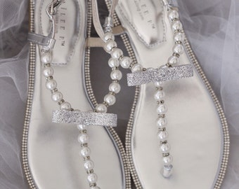 a7bce58f9 Women   Girls Wedding Sandals - T-Strap SILVER Pearl and Rhinestones