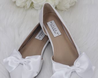 Women Wedding Shoes, Bridesmaid Shoes   WHITE Satin Pointy Toe Flats With  Rhinestones SATIN BOW