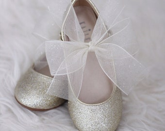 92be0b080bdf SOFT GOLD Glitter Maryjane Flats with CHIFFON Bow for Flower Girls Shoes