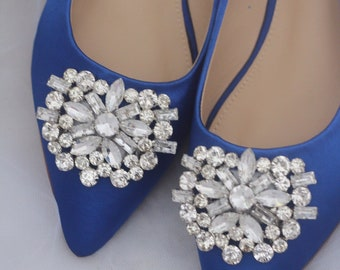 69b0d28e0cc36d ROYAL BLUE Satin Pointy toe flats with oversized rhinestones brooch -  Something Blue