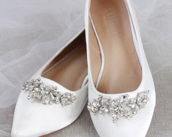 c215c3e5252a OFF WHITE Satin Pointy Toe flats with sparkly LEAVES rhinestones across the  toe, Women Wedding Shoes, Bridesmaid Shoes
