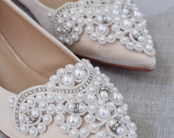 faddf681c CHAMPAGNE Satin Pointy toe flats with oversized PEARLS APPLIQUE - Women  Wedding Shoes, Bridesmaid Shoes