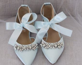 c47370aa7aa LIGHT BLUE SATIN Pointy Toe flats with sparkly rhinestones across the toe  with satin ankle tie