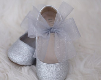 4929fdd186f7 SILVER Fine Glitter mary-jane with glitter Silver CHIFFON BOW for flower  girls