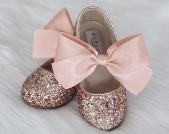 ROSE GOLD ROCK glitter mary-jane with Rose Gold satin ribbon bow for flower  girls 1d4418f6c8d4