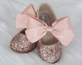 0cef8049043d ROSE GOLD ROCK glitter mary-jane with Rose Gold satin ribbon bow for flower  girls