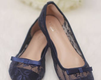 Blue wedding shoes etsy women navy blue wedding shoes bridesmaid shoes navy lace flats with tuxedo bow front junglespirit Image collections