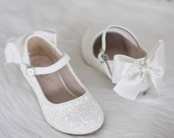 fb8fb3beb3f Girls Heel Glitter Shoes - WHITE Rock Glitter mary-jane heels with added  satin bow - Flower Girl shoes