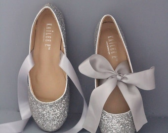 56a073087d7d SILVER ROCK GLITTER flats with satin tie - Women Silver Wedding Shoes - Bridal  Shoes