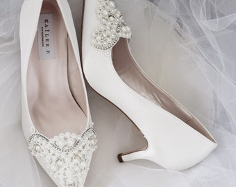 4e953557f308f OFF WHITE SATIN Pointy toe Heels with oversized Pearls Applique
