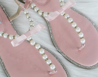 b0fefadbedd366 Women and Kids Wedding Pearl Sandals - T-Strap SOFT CORAL Pearl with Rhinestones  flat sandal - For brides