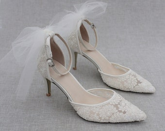 Lace Cinderella Wedding Shoes Bridal Shoes See Through Wedding Heels Dream Wedding Shoes Custom Made Charlize Ivory Lace Wedding Pumps