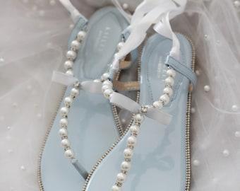 Light blue sandals | Etsy