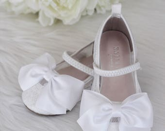 1b6bcc53bf9f Girls Shoes -Flower Girl Shoes - WHITE LACE Maryjane with Satin Bow -  Baptism and Christening