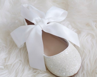 072df5584fe3 WHITE rock glitter ballet flats with Satin Ankle Tie - Flower girl shoes