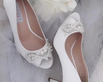 WHITE SATIN Peep Toe Heels with Pearls   Rhinestones Applique - Women  Wedding Shoes 5504fa328934