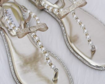 2de75adeddc4 Women   Girls Wedding Pearl Sandals - T-Strap GOLD Pearl with Rhinestones flat  sandal - Wedding Sandals for brides and bridesmaids