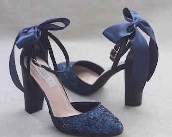 Navy Wedding Heels Etsy