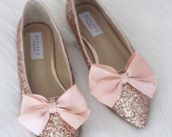 Women Wedding Shoes, Bridesmaid Shoes   ROSE GOLD Rock Glitter Pointy Toe  Flats With SATIN Bow At Front