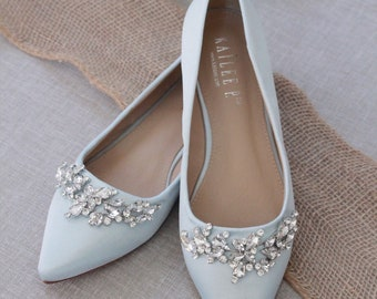 cd7a9845e2d LIGHT BLUE Satin Pointy Toe flats with sparkly LEAVES rhinestones across  the toe, Women Wedding Shoes, Bridesmaid Shoes, Something Blue