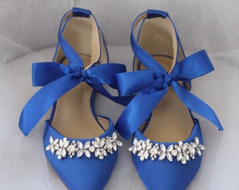78a5b02bb ROYAL BLUE SATIN Pointy Toe flats with sparkly rhinestones across the toe  satin ankle tie